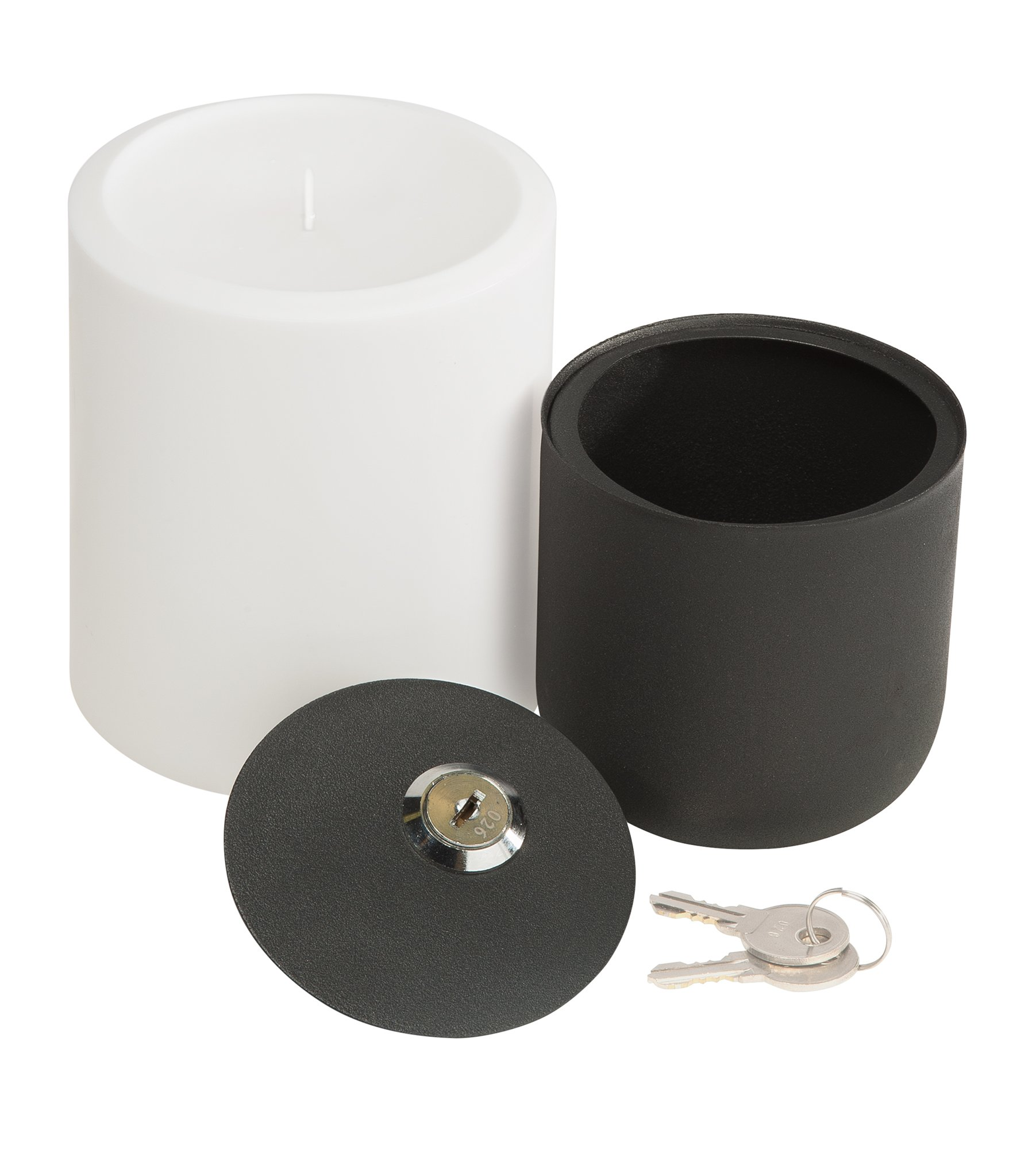 Hidden Candle Safe - Plastic Candle Safely Stores Small Valuables like Cash, Jewelry, Credit Cards; Secure Mounting Lockbox for Tabletop