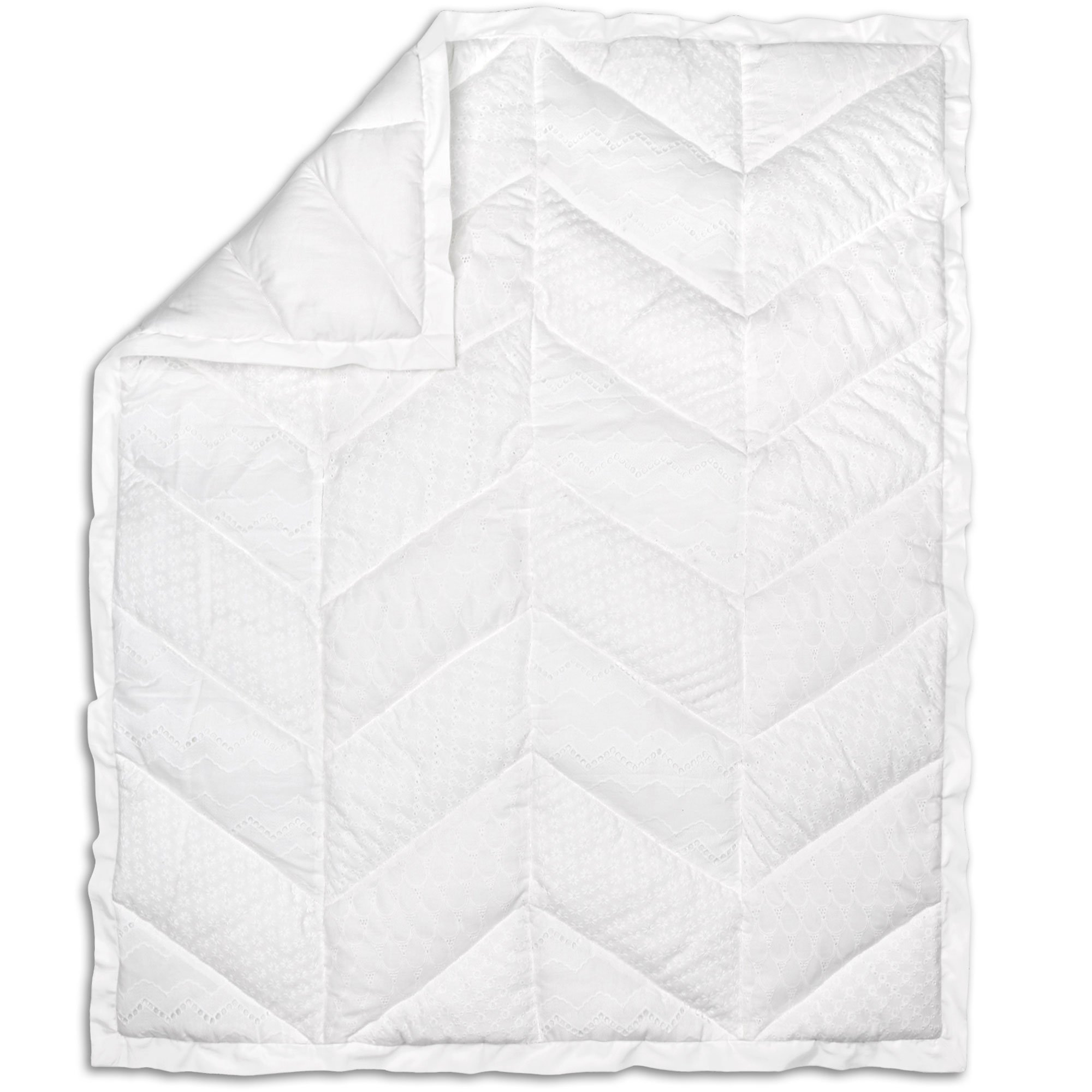Taylor White Eyelet Baby Girl Crib Quilt by The Peanut Shell