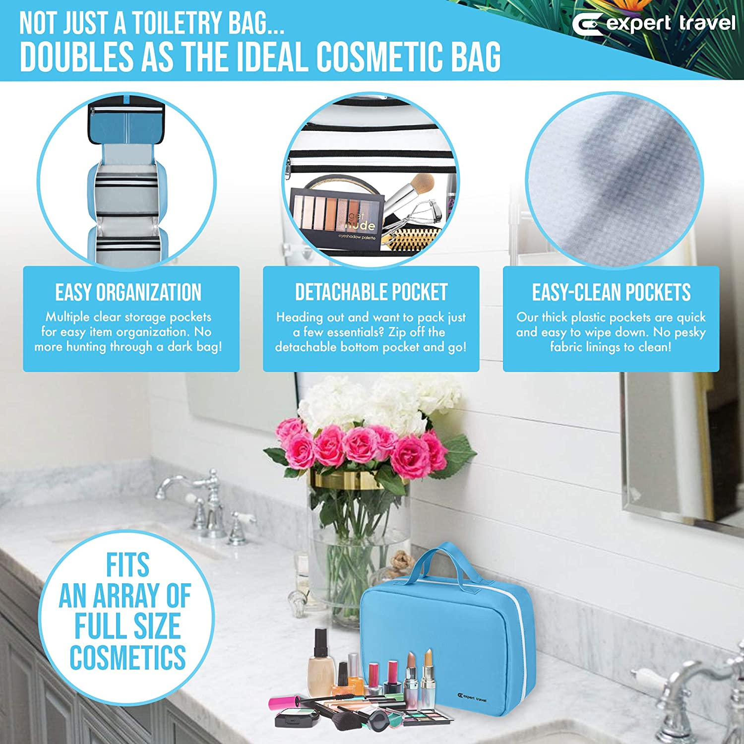 bd989c83a73ddf Amazon.com   Hanging Travel Toiletry Bag for Men and Women