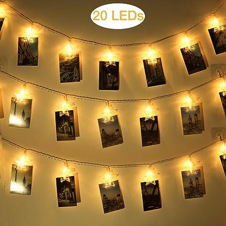 websun 40 LED foto Clips stringa luci a batteria Telecomando da ...