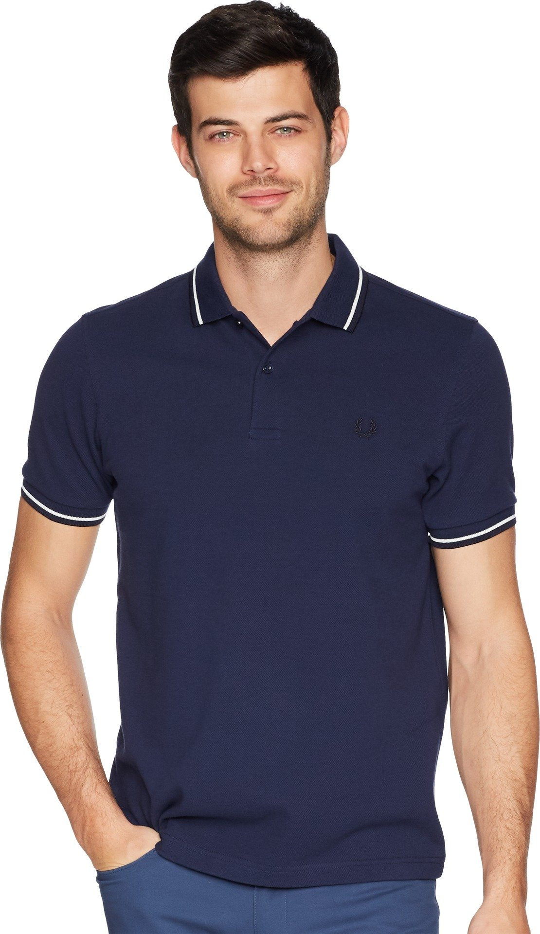 Fred Perry Men's Twin Tipped Shirt, Carbon Blue, Large