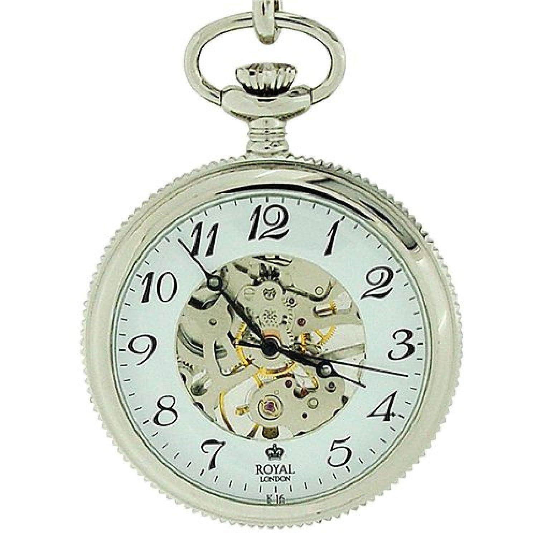 WB\11823 -Royal London-90002-01 Edelstahl Taschenuhr mit offenem Ziffernblatt mechanisch