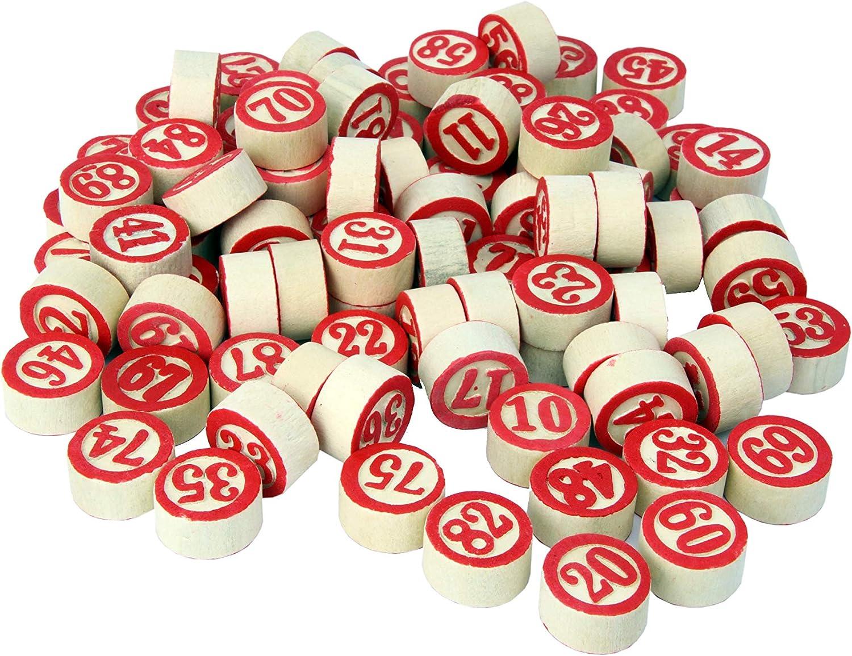 CARTALOTO-90 fichas de Madera numeradas Multicolor BT90JLB