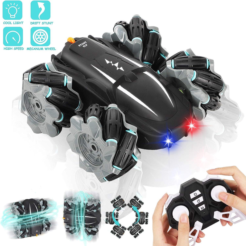 Auney Coche Teledirigido, 2.4 GHz RC Coche de Control Remoto Rotación Volteo de 360 Grados, con Batería Recargable, Coches con Luces LED de Juguete para Niños (Negro)