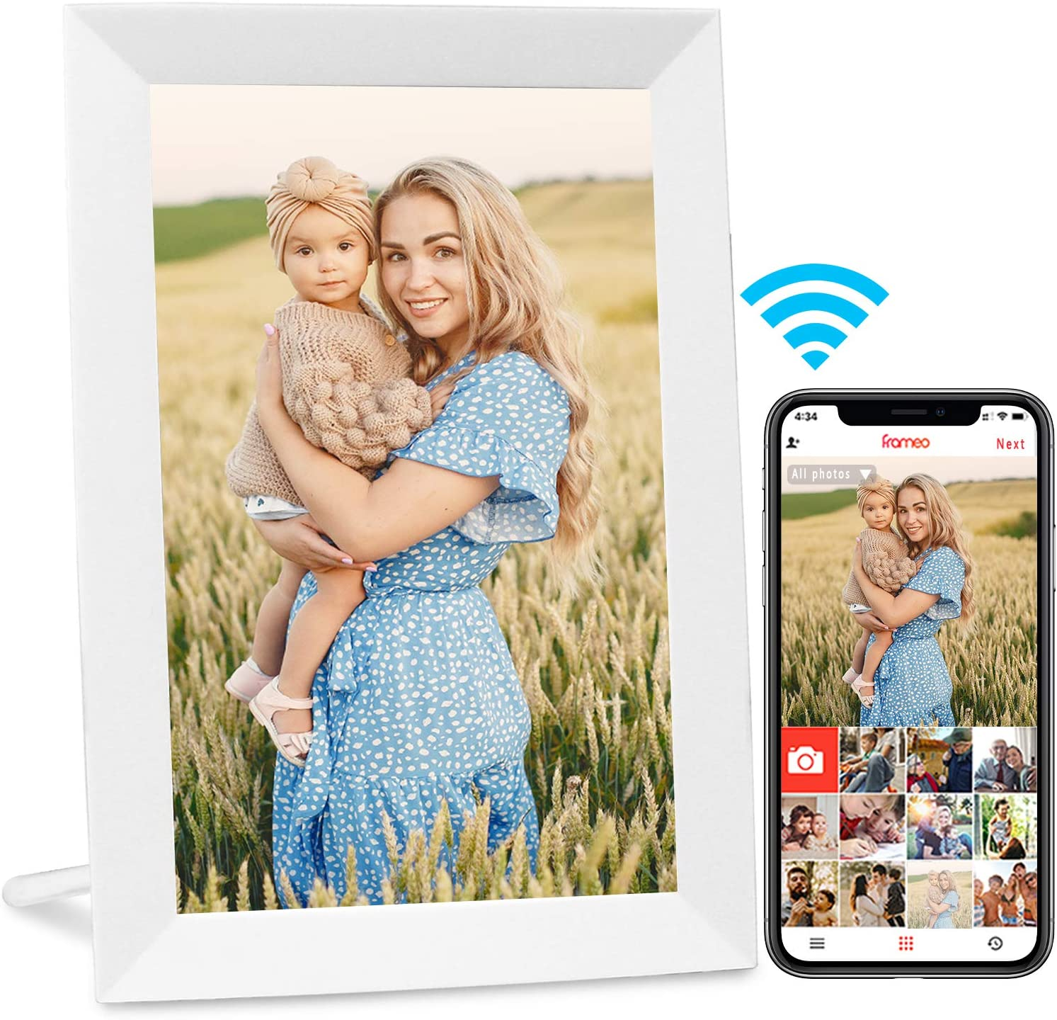AEEZO WiFi Digital Picture Frame, IPS Touch Screen Smart Cloud Photo Frame with 16GB Storage, Easy Setup to Share Photos or Videos via Free Frameo APP, Auto-Rotate, Wall Mountable (9 inch White)