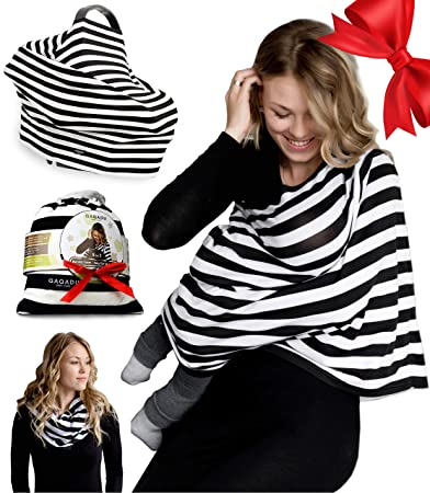 5d76d17797891 Nursing Breastfeeding Cover Scarf - Baby Car Seat Canopy - Nursing Pads,  Pouch & Gift