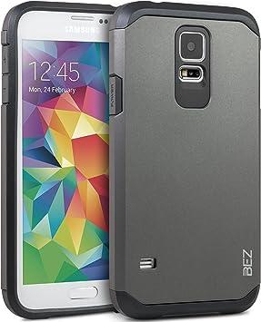 BEZ Funda Samsung Galaxy S5, S5 Neo, Carcasa Compatible para Samsung S5, S5 Neo, Antideslizante Ultra Híbrida Gota Protección, Cover Anti-Arañazos con Absorción de Choque Resistente, Plata: Amazon.es: Electrónica