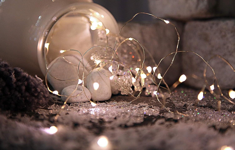 5 cuerdas temporizador longitud aproximada de 1 m batería en caja de cartón 46 LED luz blanca cálida 726-83 Best Season guirnalda Bouquet cuerdas