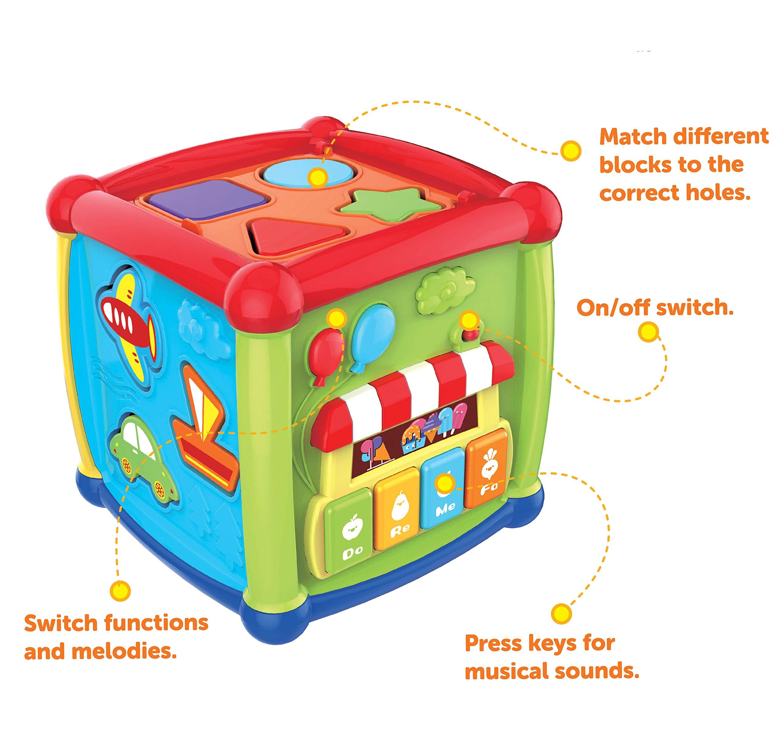 JOYIN Baby Activity Center Flashing Baby Stack Toys with Shape Color Sorting Alphabet Activity Cube Music Cute Toys by JOYIN (Image #3)
