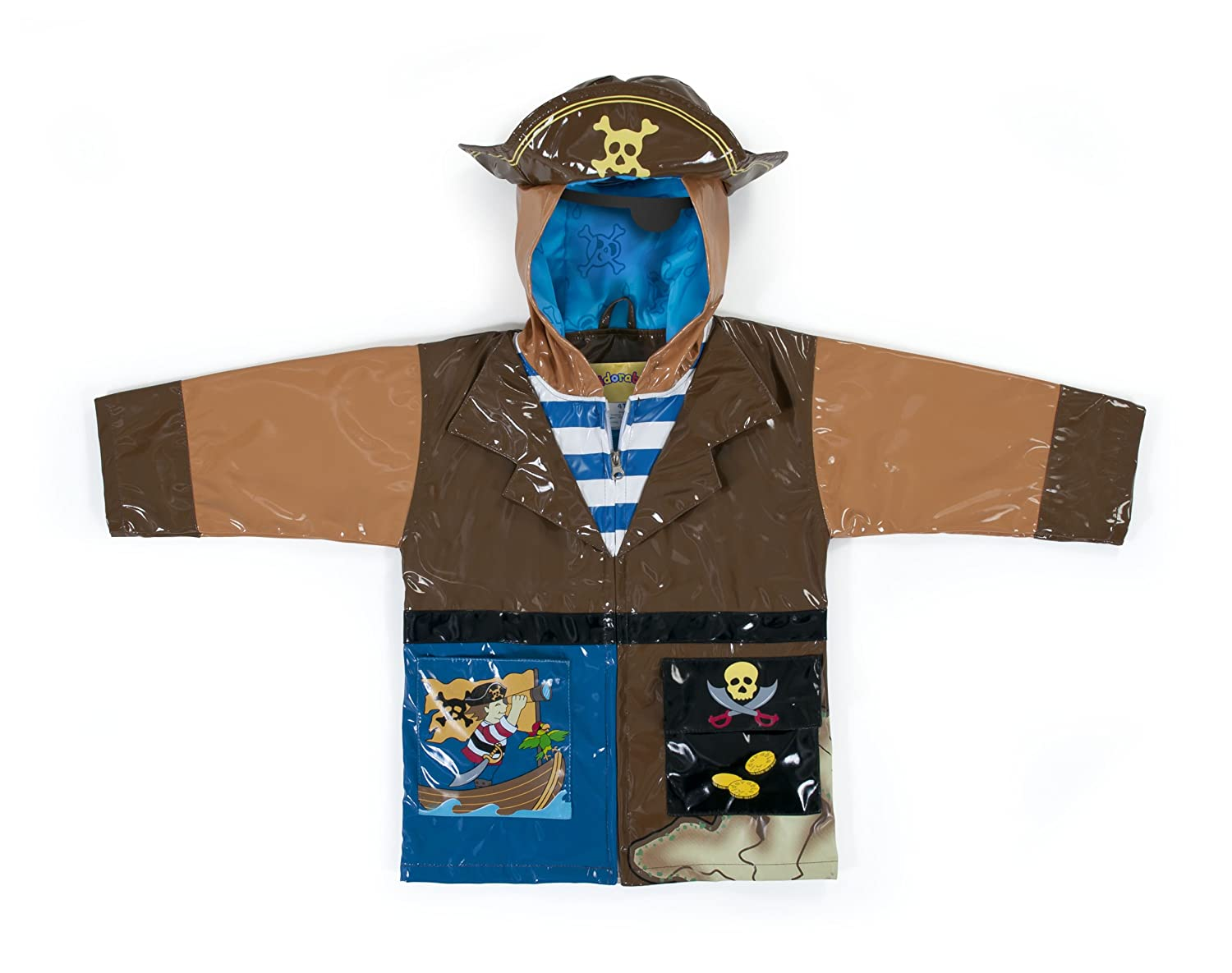 Kidorable Pirate Brown PU All-Weather Raincoat for Boys w/Fun Treasure Chest Pocket, Pirate Hat Kidorable- Quarterdeck