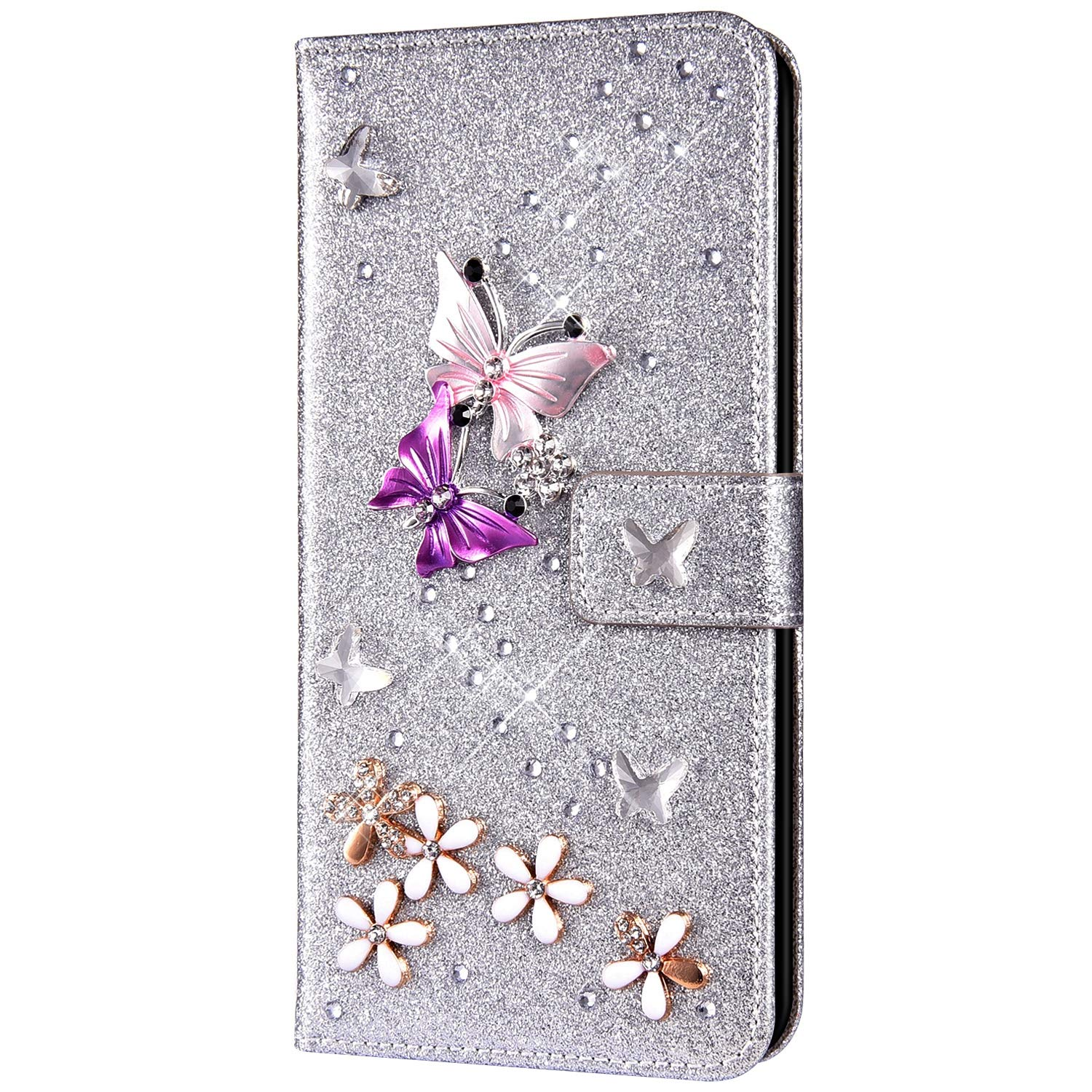 Case for Huawei P30 Lite Flip Case Premium PU Leather Wallet Case 3D Handmade Glitter Bling Shiny Diamond Butterfly with Card Slots Kickstand for Huawei P30 Lite,Silver by ikasus