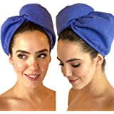 Beauty Bee Two Pack Hair Turban Set - Luxurious MicroCrepe Microfiber Fabric - Fast Hair Drying - Fuzz Free - Button Loop - 2 Per Pack
