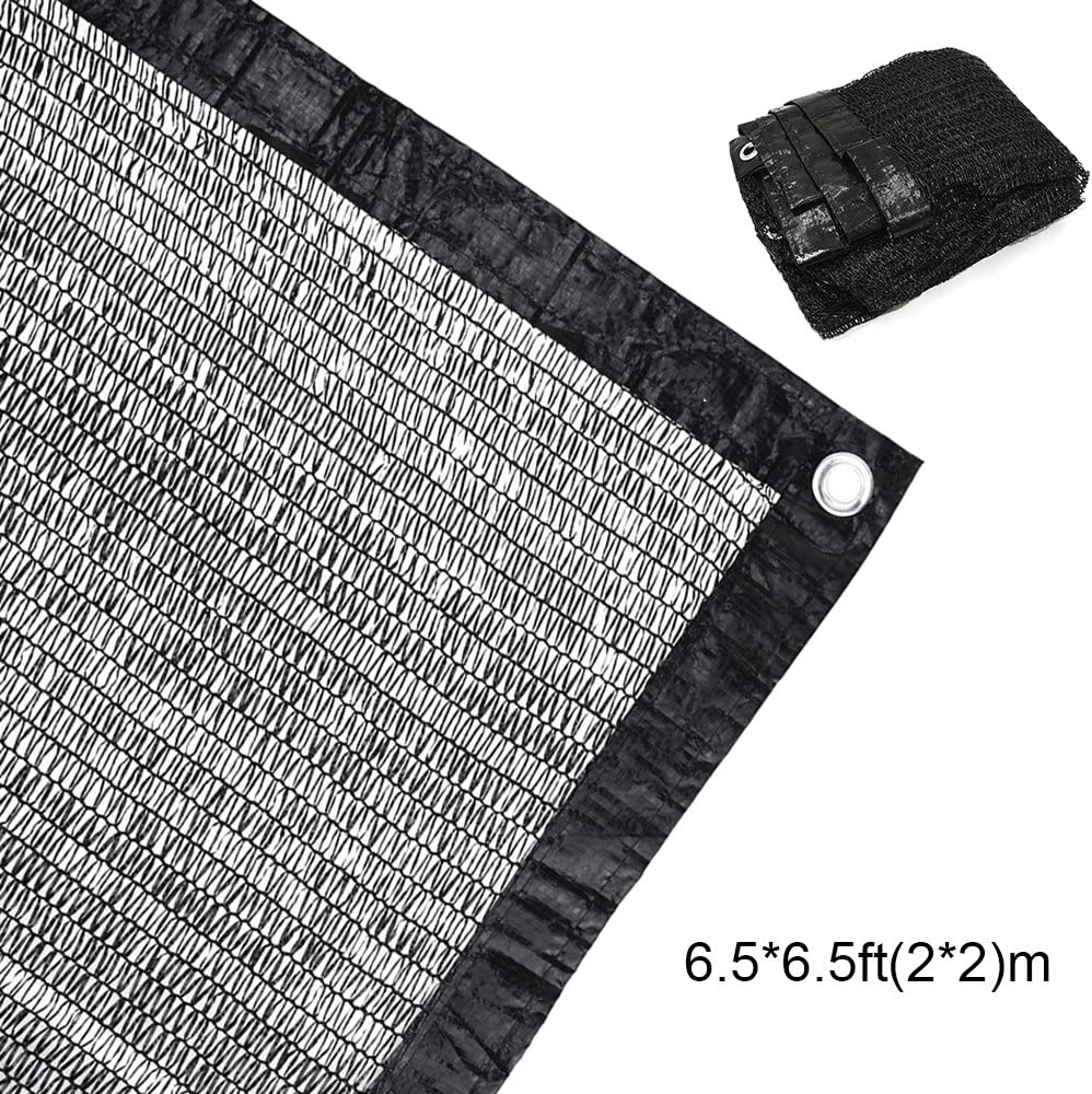 70% Sunblock Shade Cloth Net Black UV Resistant, Garden Shade Mesh Tarp for Plant Cover, Greenhouse, Barn. Top Shade Cloth Quality Panel for Flowers, Plants, Patio Lawn (1 PACK 6.5×6.5ft(2×2m))