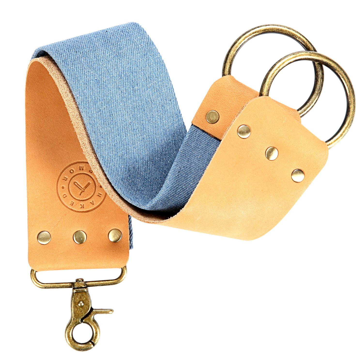 Leather Strop Knife Strop + Razor Strop - Keep your Blades Sharp. Riveted Brass Anchor Hooks. Blue Linen Stropping Belt For Cleaning. Great Knife Sharpening Strop, Shaving Strop, Straight Razor Strop Naked Armor