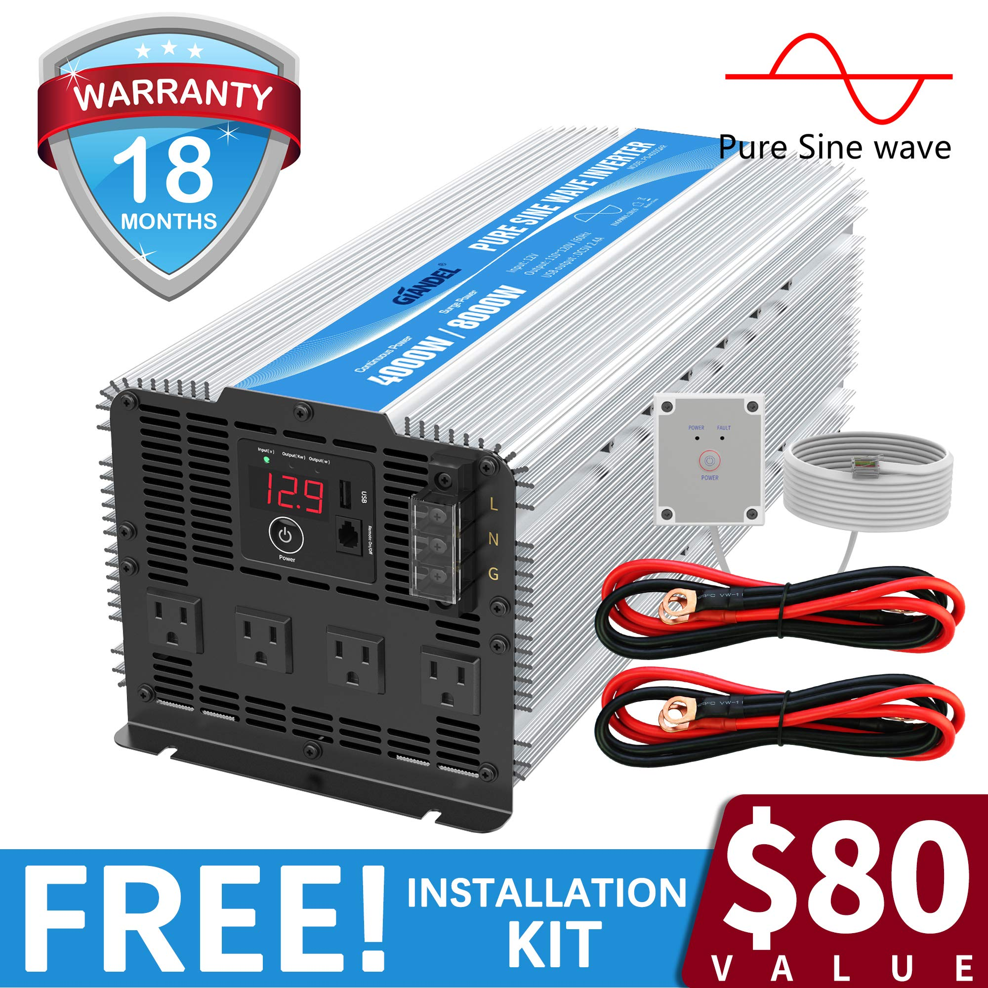 GIANDEL 4000W Heavy Duty Pure Sine Wave Power Inverter DC12V to AC120V with 4 AC Outlets with Remote Control 2.4A USB and LED Display by GIANDEL