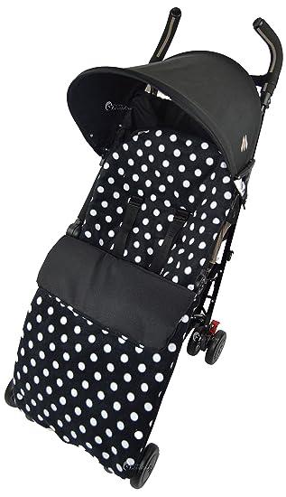 Forro polar saco/Cosy Toes Compatible con Maclaren Techno XT XLR Quest Volo, diseño de lunares, color negro: Amazon.es: Bebé