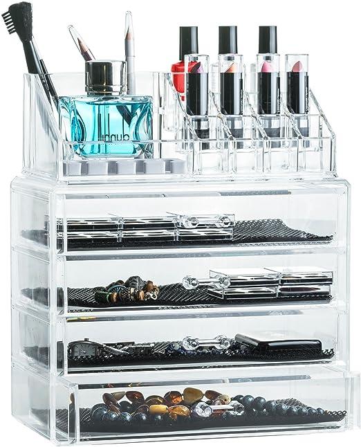 Kosmetik Organizer Schmink Aufbewahrung Schubladenbox Bambus Acryl Schmuckkasten