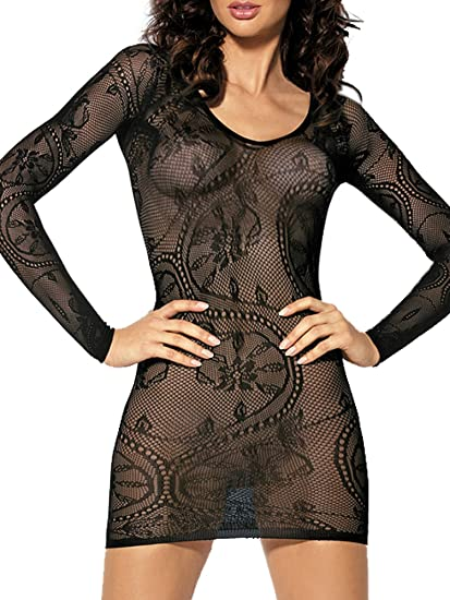 b20fb8029a Beauty s Love Sleeved Sexy Floral Lace Fishnet See Through Mini Chemise  Dress Lingerie for Women for