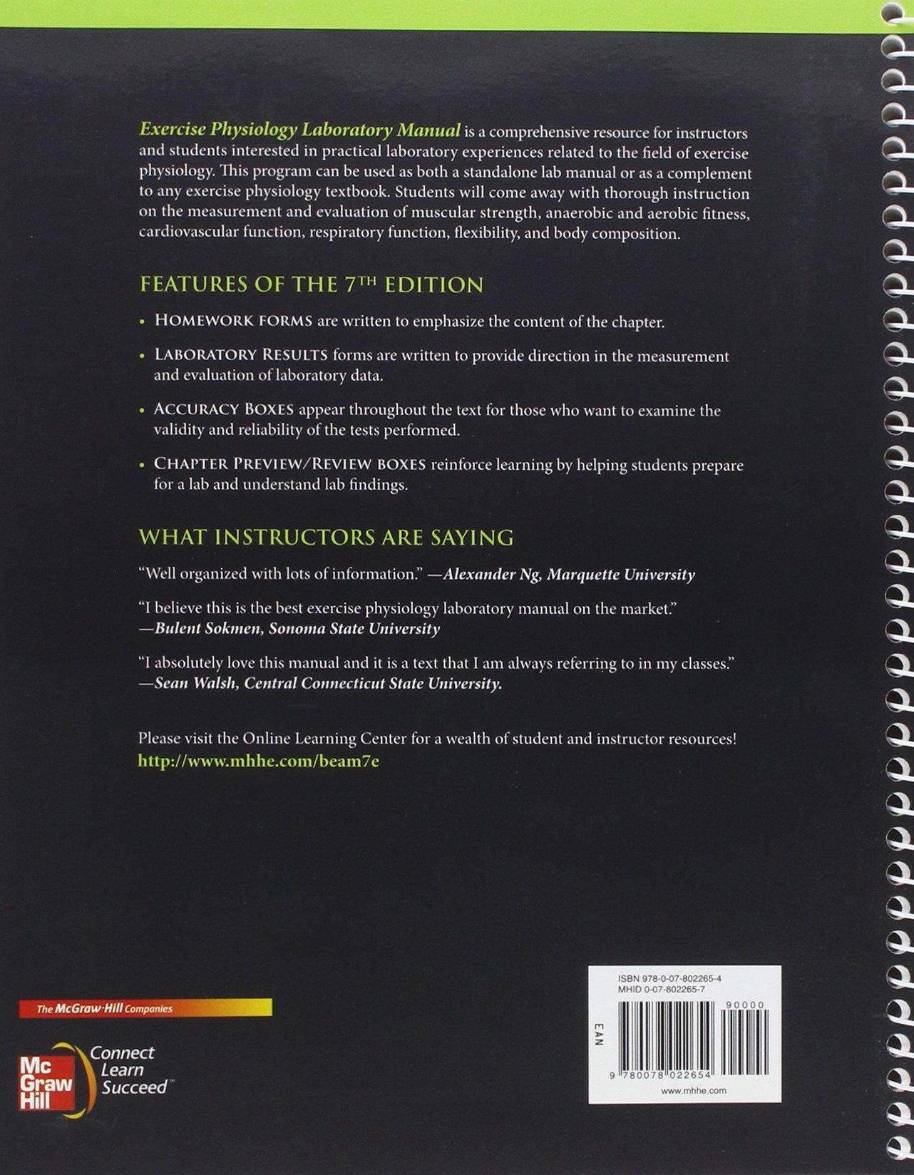 Exercise Physiology Laboratory Manual: William C Beam, Gene M Adams:  9780078022654: Sports Medicine: Amazon Canada