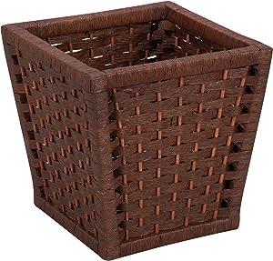 Household Essentials ML-7031 Paper Rope Wicker Waste Basket | For Bedrooms & Bathrooms | Dark Brown Stain