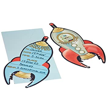 ginger ray spaceship robot kids party invitations space