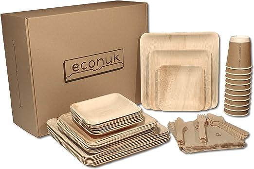 econuk – Juego Completo de Platos Vasos Cubiertos y Servilletas ...