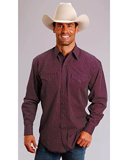 30bb2f885e2e7 Amazon.com  Stetson Men s Four Dot Foulard Long Sleeve Snap Shirt ...