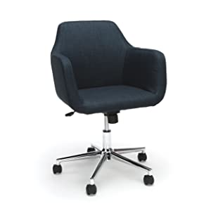 Essentials Upholstered Home Office Chair - Ergonomic Desk Chair with Arms for Conference Room Or Office, Blue