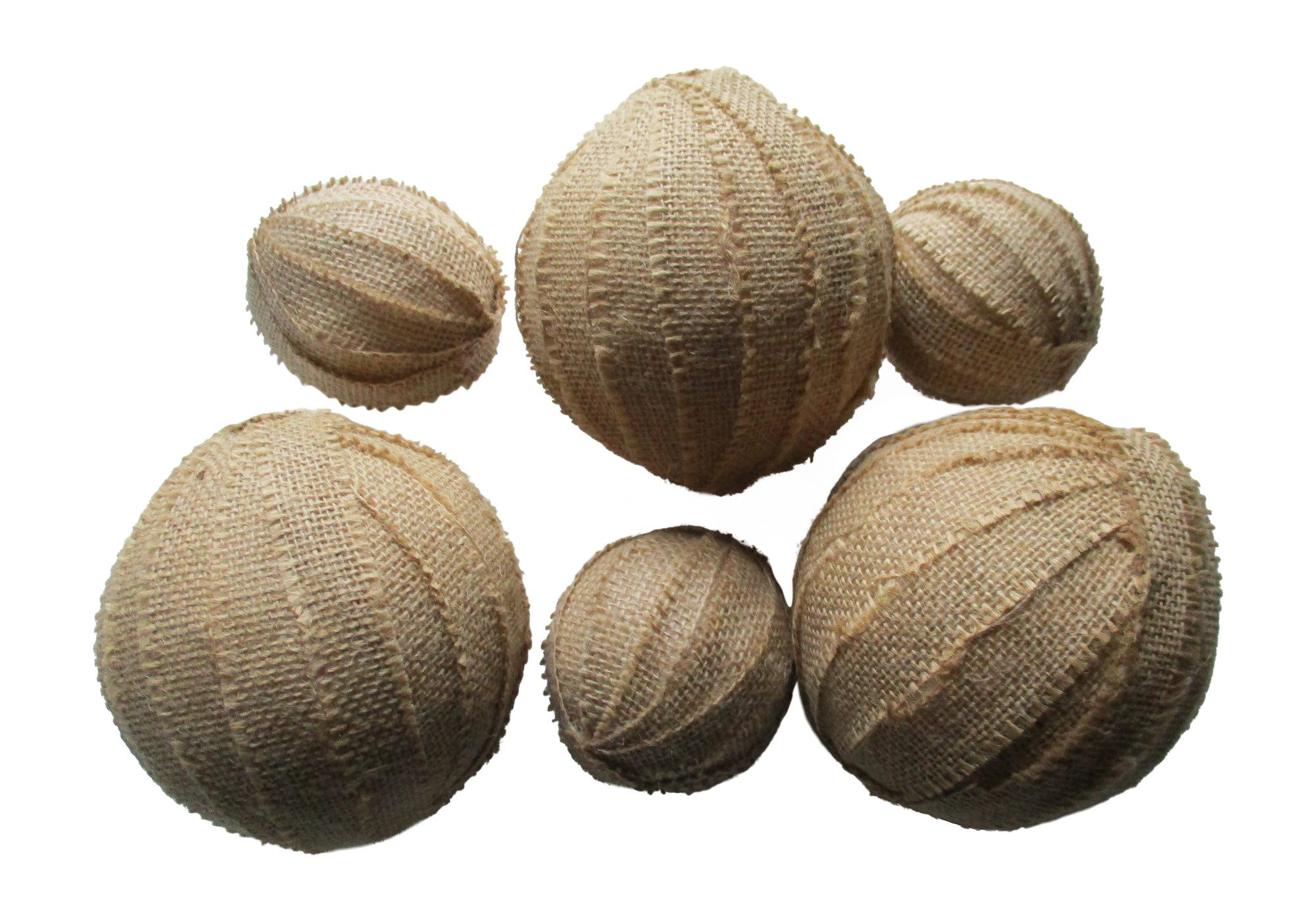 From The Attic Crafts Burlap Rag Balls Decorative Bowl Fillers 4 inch and 2.5 inch set of 6 by From The Attic Crafts (Image #2)