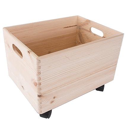 Search Box Tamaño Grande de Madera apilables Caja de Almacenamiento con Asas y Ruedas Caja de
