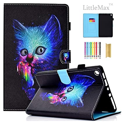 LittleMax(TM) Amazon Fire HD 8 Tablet Case - Flip Folio Stand Smart Cover  with Auto Sleep/Wake Features for Kindle Fire HD 8 7th Generation 2017/6th