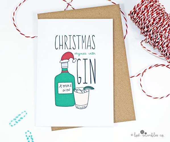 Joke Christmas Card - Christmas Rhymes with Gin: Amazon.co.uk: Handmade