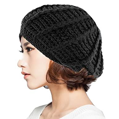 854e25d2b6aa4 Image Unavailable. Image not available for. Color  Women Ladies Baggy Beret  Chunky Knit Knitted Braided Beanie Hat Ski Cap