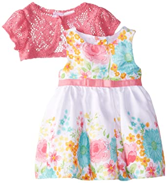 f2f122ba9 Youngland Baby Girls' Floral Shantung Dress with Lace Shrug, Pink/White, 12