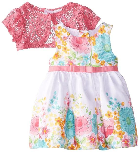 Amazon.com: Youngland bebé floral Shantung vestido de dos ...