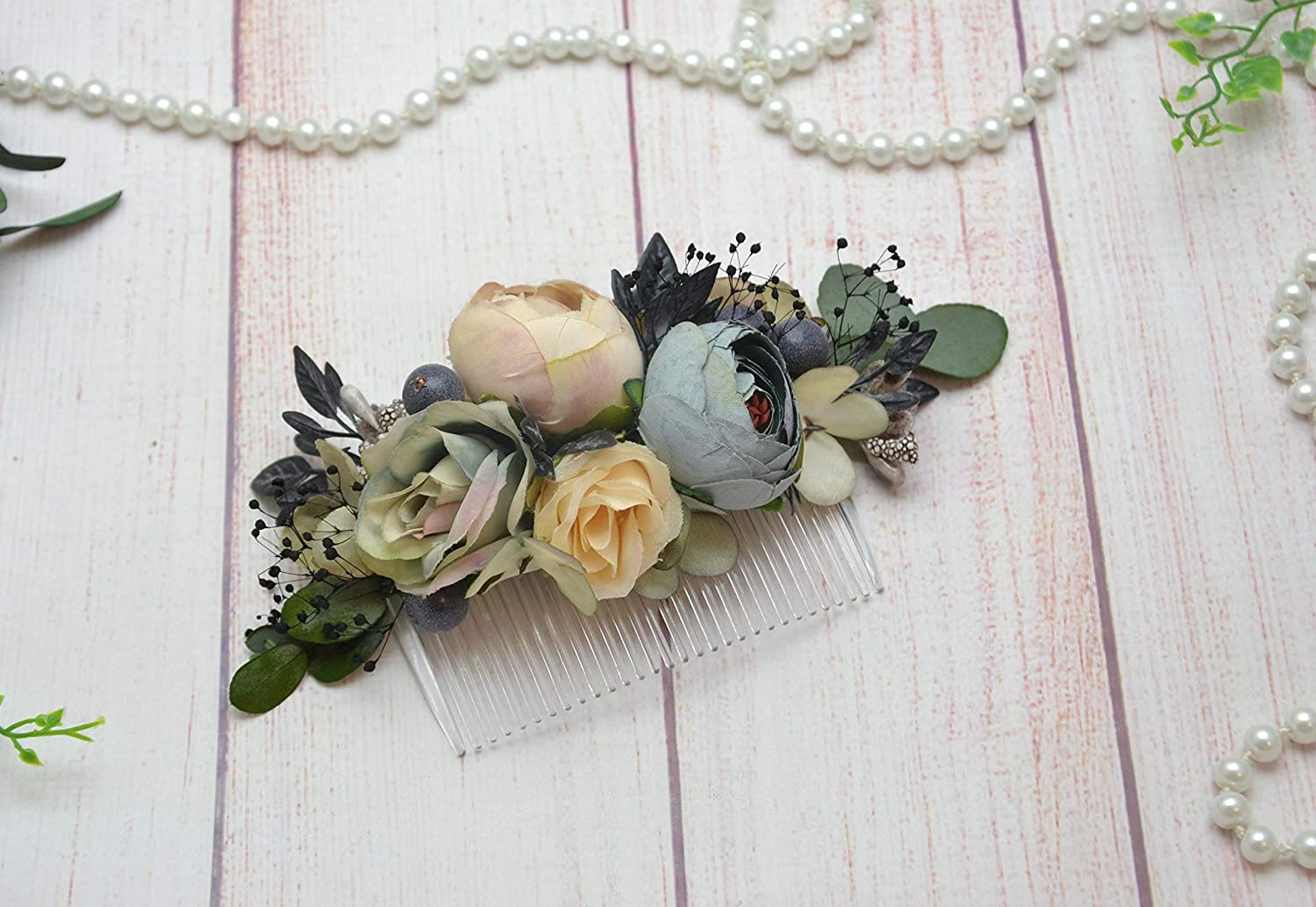 e890817a46b20 Beige gray eucalyptus floral comb for bride Wedding flower comb Bridal  headpiece Flower in hair