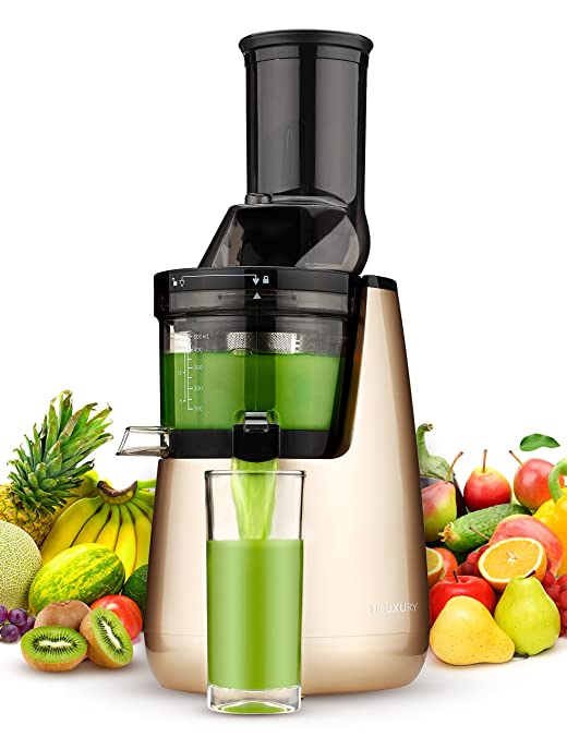 Slow Masticating Juicer extractor by Tiluxury with Low Speed Wide Chute Anti-Oxidation Vertical Cold Press Juicer (40 RPMs, 3