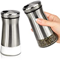 Elegant Salt And Pepper Shakers - Stainless Steel Set Of 2 - Gorgeous Salt And Pepper Dispenser With Adjustable Pour…
