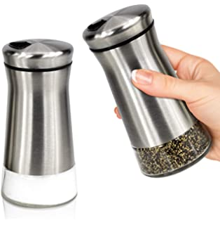 Elegant Salt and Pepper Shakers With Adjustable Pour Holes - Gorgeous Stainless Steel Salt and Pepper