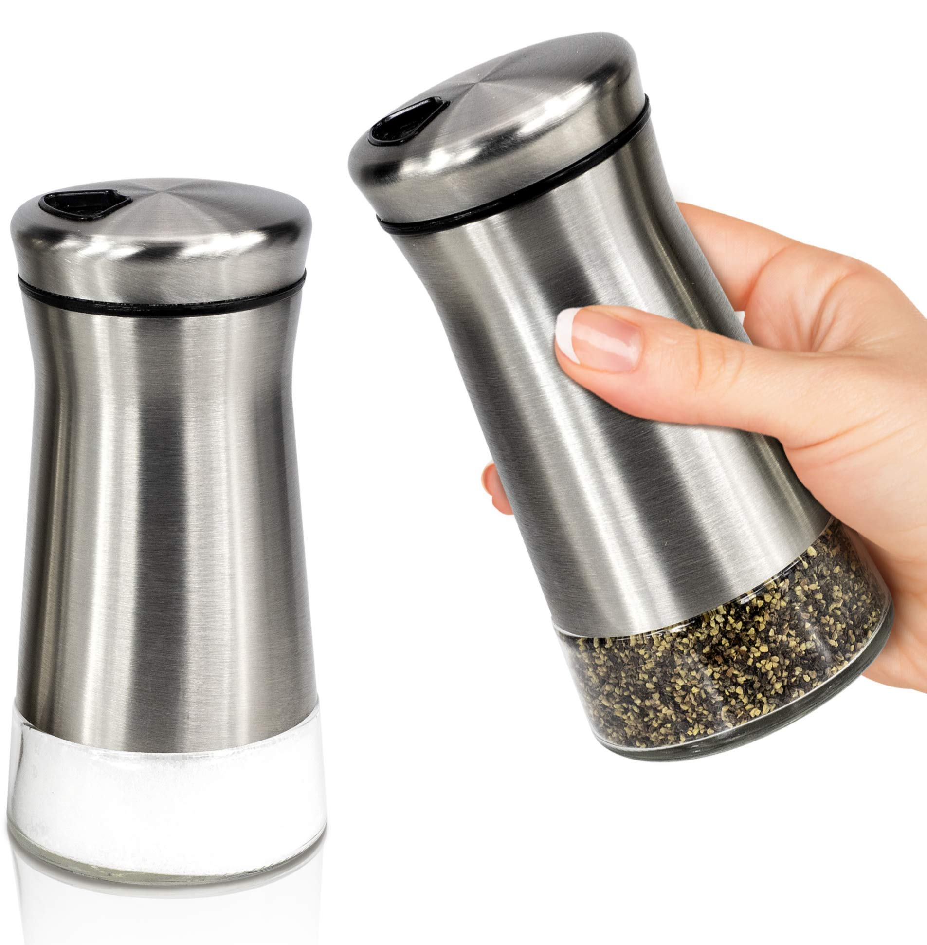 Elegant Salt and Pepper Shakers With Adjustable Pour Holes - Perfect Dispenser Set for your Salts by KIBAGA