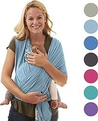 Babytragetuch für Neugeborene | Das perfekte Geschenk | Designed in Berlin & London | Tragetuch von BabyChamp (sky blue)