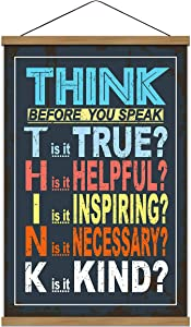 WEROUTE Classroom Poster Think Before You Speak Print Scroll Sign Educational Painting Motivational Home School Print Teaching Decor 15.7 x 27 inch (with Hanging Frame)