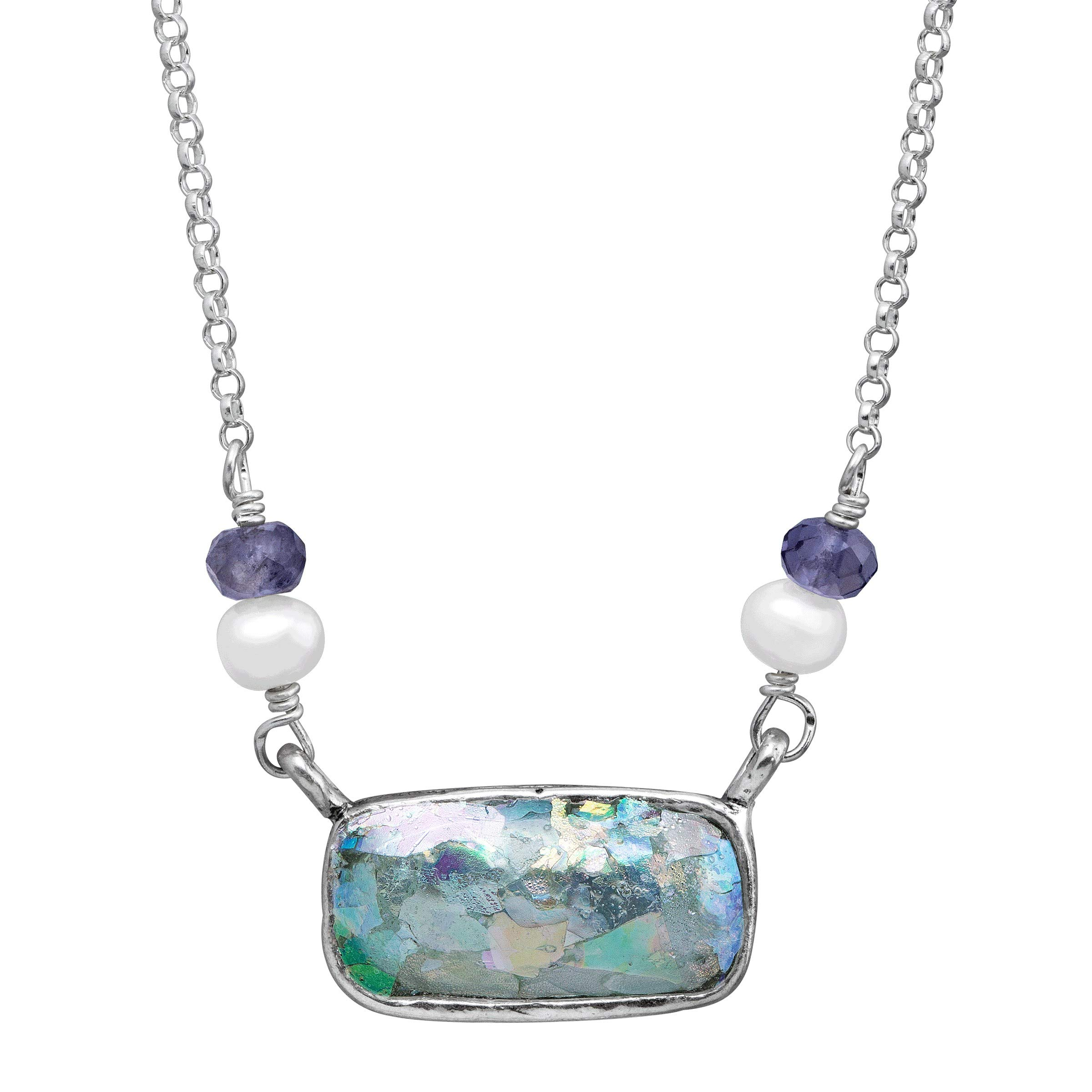 Silpada 'Pons Drusi' 4-4.5 mm Freshwater Cultured Pearl & Roman Glass & Natural Iolite Necklace in Sterling Silver