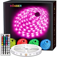 MINGER LED Strip Lights, 16.4ft RGB LED Light Strips with Remote and Control Box, Bright 5050 LEDs, 20 Colors and DIY…