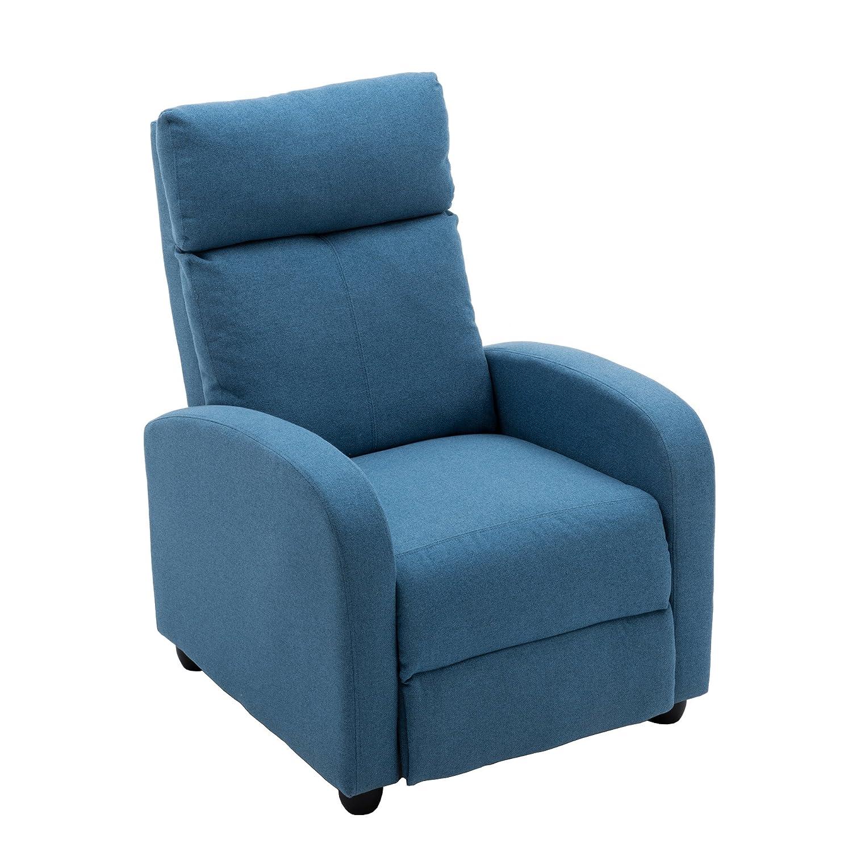 NOBPEINT Recliner Chair Blue Lounger Fabric Living Room Recliner Modern  Recliner Sofa Seat Home Theater