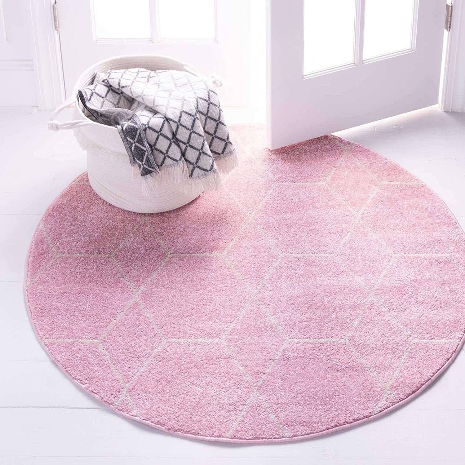 Unique Loom Trellis Frieze Collection Lattice Moroccan Geometric Modern Runner Rug Trf002 6 Feet Light Pink Ivory Furniture Decor