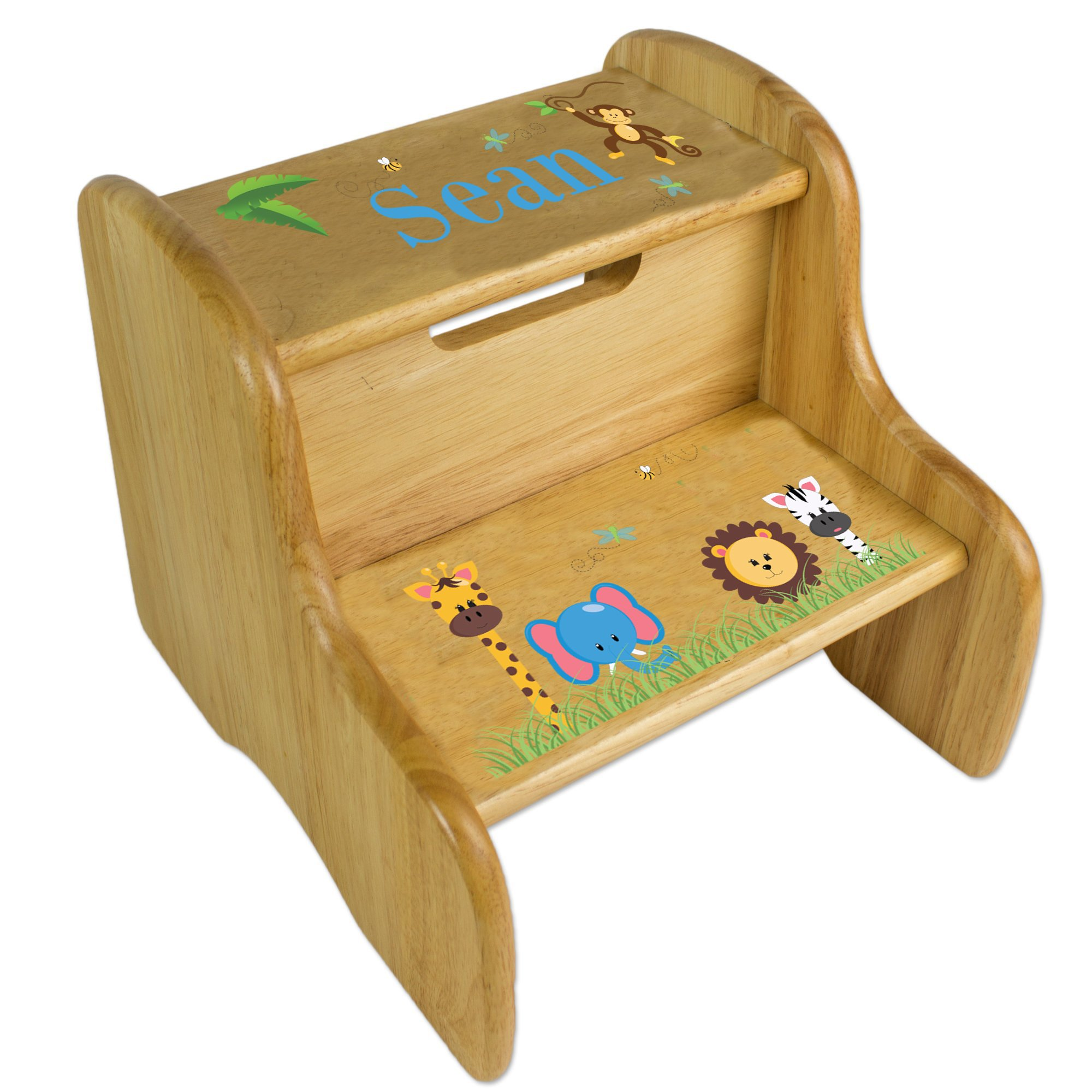 Personalized Wooden Jungle Animals Boy Step Stool