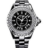 (バオショ)BUREI レディース 腕時計 日付表示機能 アナログ表示 夜光機能 シンプル ファッション ホワイトセラミックバンド ジュエリー腕時計 日本クォーツムーブメント ホワイト文字盤  シルバーケース