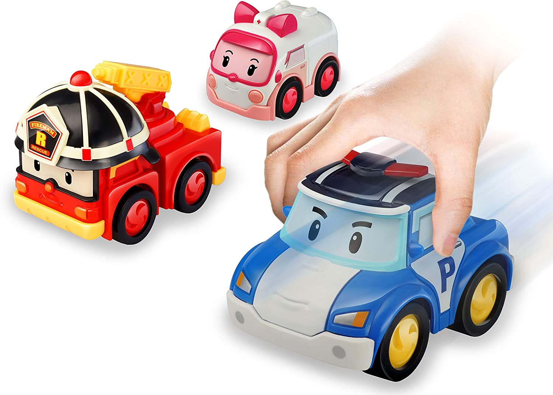 Robocar Poli Coches de Juguete de fricción-Pack 3 héroes Poli, Roy y Amber fieles a la Serie, Desde 3 años, Multicolor (Silverlit 54281)