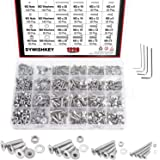 DYWISHKEY 1220 PCS M2 M3 M4 M5, 304 Stainless Steel Hex Flat Head Cap Bolts Screws Nuts Washers Assortment Kit with Hex Wrenc
